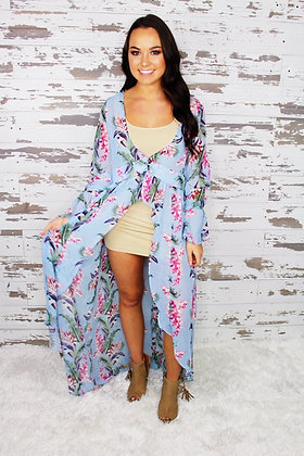 Oh So Flattering Light Blue Floral Cardigan