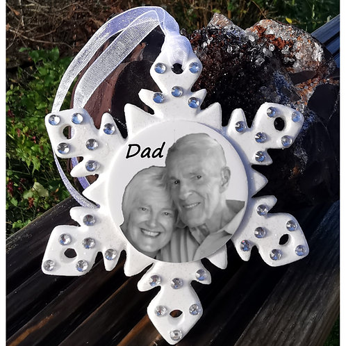 Luxury Personalised Photo Snowflake, Christmas Bauble with Diamante Crystals