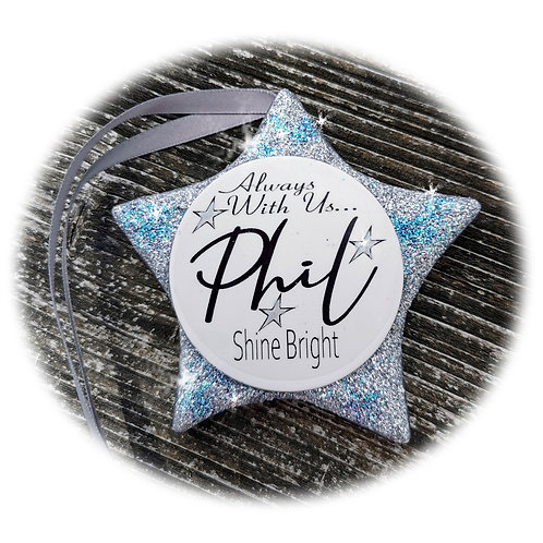 Personalised Memorial Cremation Ashes Christmas Star Keepsake - Xmas Tree Bauble