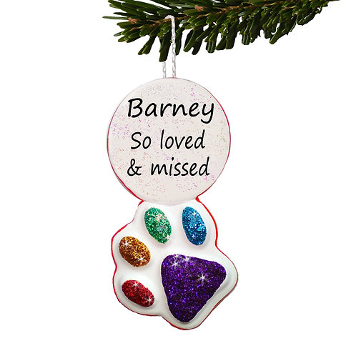 Rainbow Bridge Personalised Pet Paw Print Christmas Bauble
