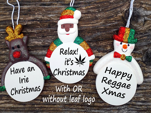 Personalised Rasta Santa Christmas Baubles