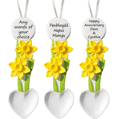 Welsh Daffodil Lovespoon Personalised Gift, Any Message, Handmade