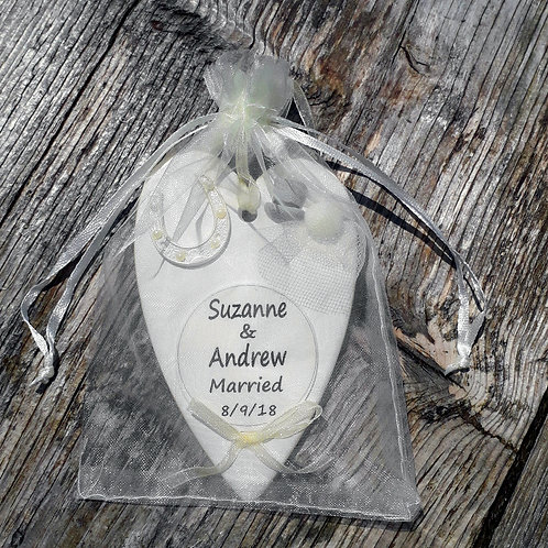 Personalised Wedding Heart Gift in ivory organza bag