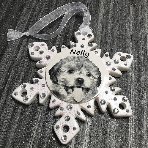 Personalised Photo Snowflake, Christmas Bauble