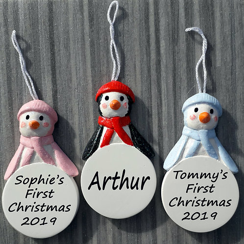 Personalised Penguin Christmas Tree Bauble