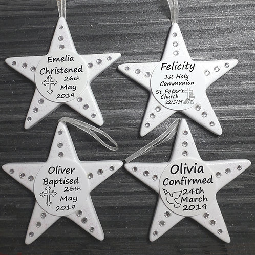 Personalised Religious Gift, Sparkling Star, Handmade
