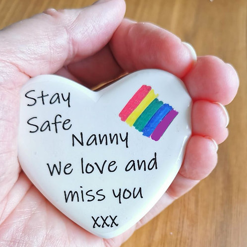 Personalised Comfort Heart Rainbow, Isolation, Social Distancing, Letterbox Gift