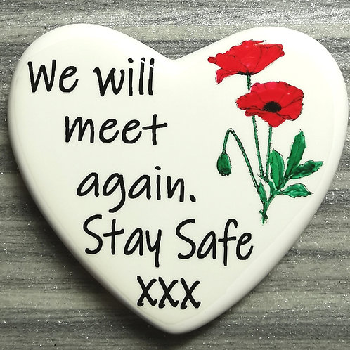 Personalised Comfort Heart We will meet again Poppy, Isolation, Letterbox Gift
