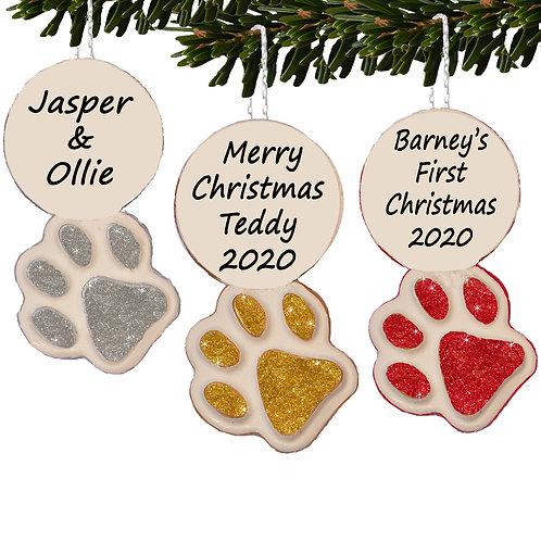 Pet Paw Print Personalised Christmas Tree Bauble