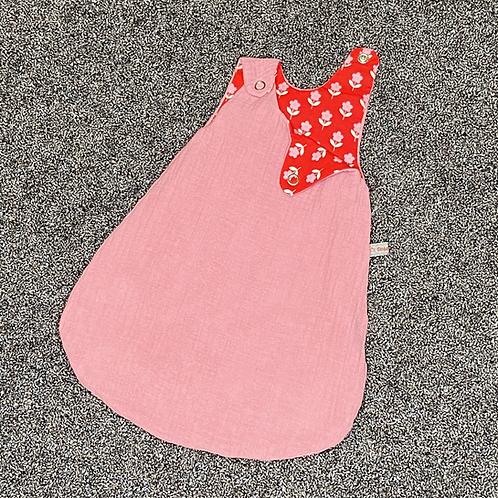 30cm | Schlafsack - rosa Musselin, Blume rot
