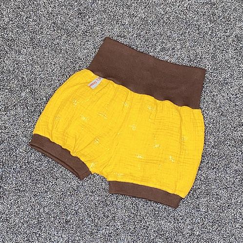 "74/80 | Hose ""Musselin"" kurz - goldene Blume auf senf"