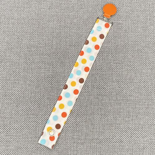 Schnullerband - weiß Punkte bunt orange