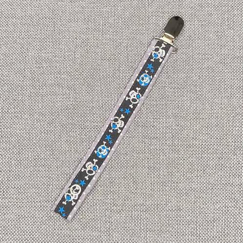 Schnullerband - Totenkopf grau
