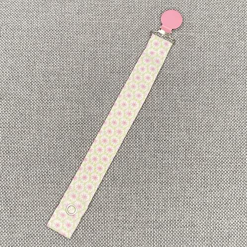 Schnullerband - kleine Blümchen rosa grün