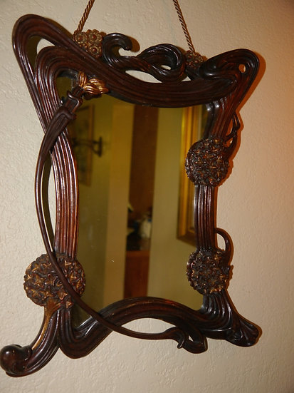Art Nouveau Carved Wooden Mirror - SOLD