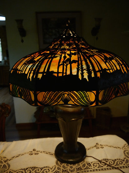 Handel Tropical Palm Overlay Lamp-SOLD