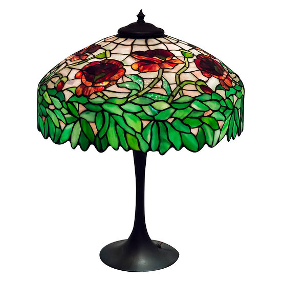 Unique Art Glass Poppy Leaded Lamp-SOLD