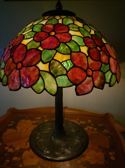 Colonial Leaded Floral Lamp   SOLD