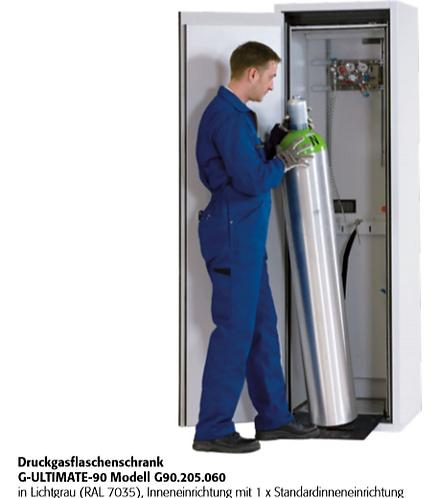 Druckgasflaschenschrank G-ULTIMATE-90 für 1 Flasche a 50 Liter oder 2 a 10 Liter