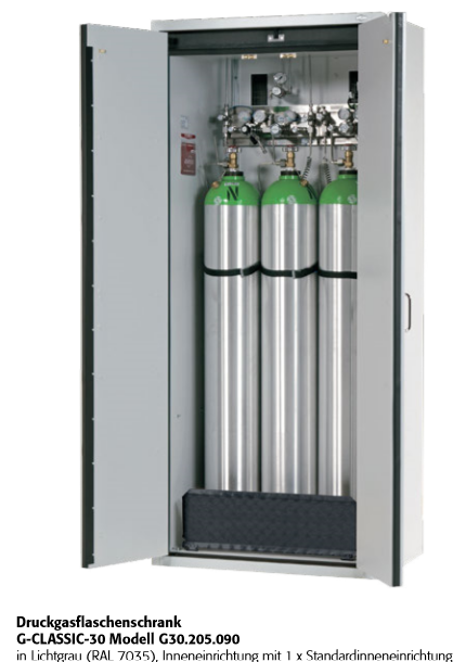 Druckgasflaschenschrank G-CLASSIC-30 für 2/3 Flasche a 50 Liter
