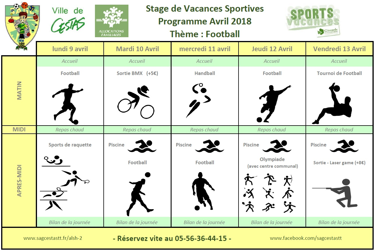 Vacances Sportives Avril 2018 semaine 1 Football