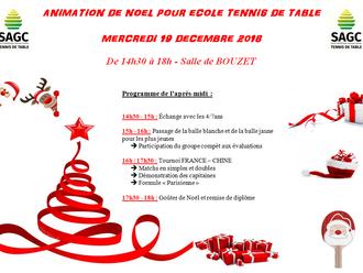 Animation de Noël Ecole Tennis de Table