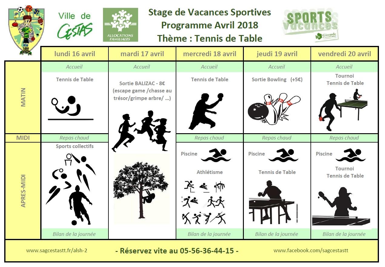 Vacances Sportives Avril 2018 semaine 2 Tennis de Table
