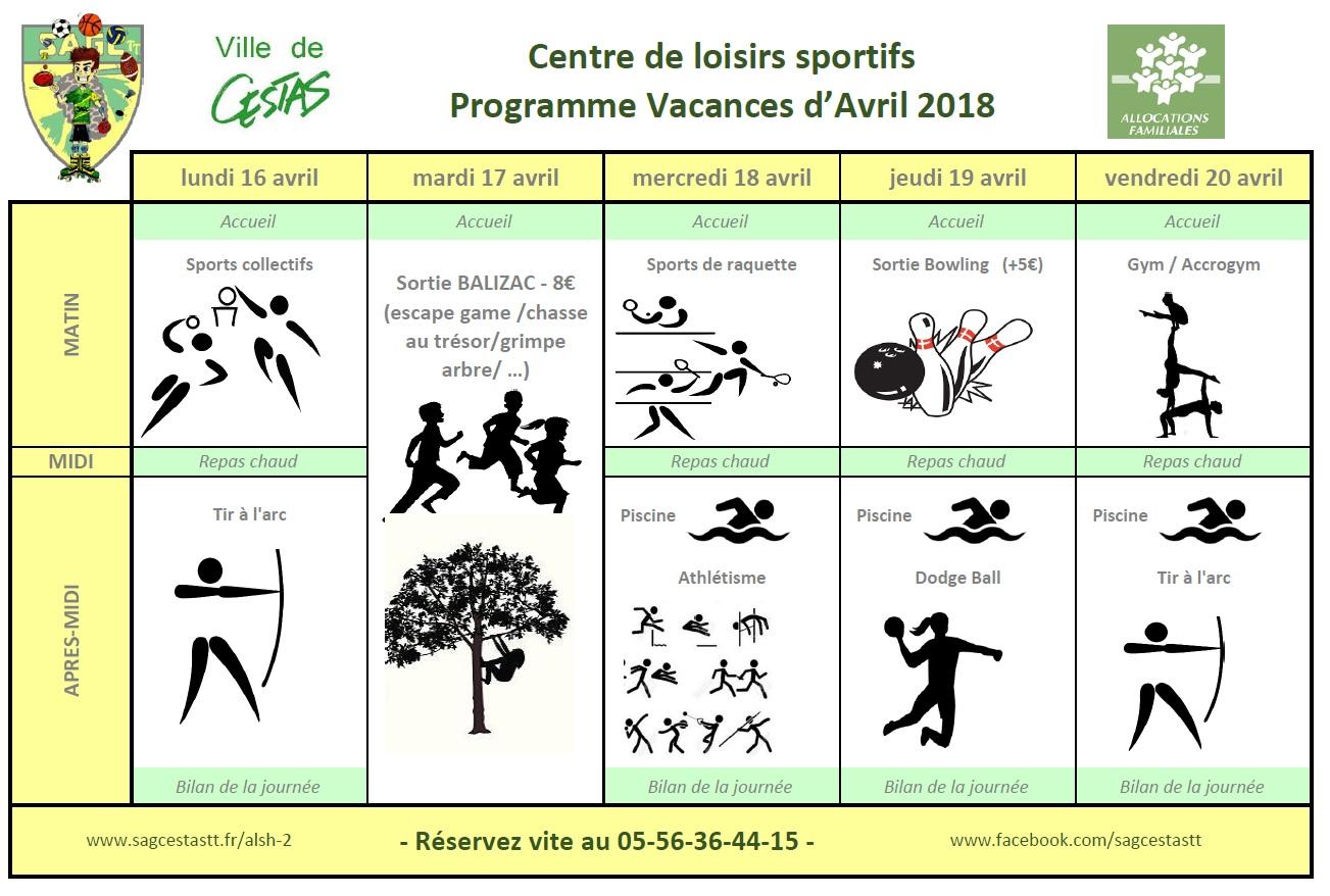 Centre de Loisirs sportifs Avril 2018 semaine 2