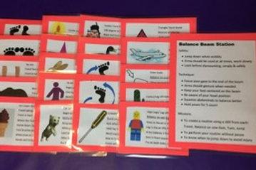 Gymnastics Cards Balance Beam Set