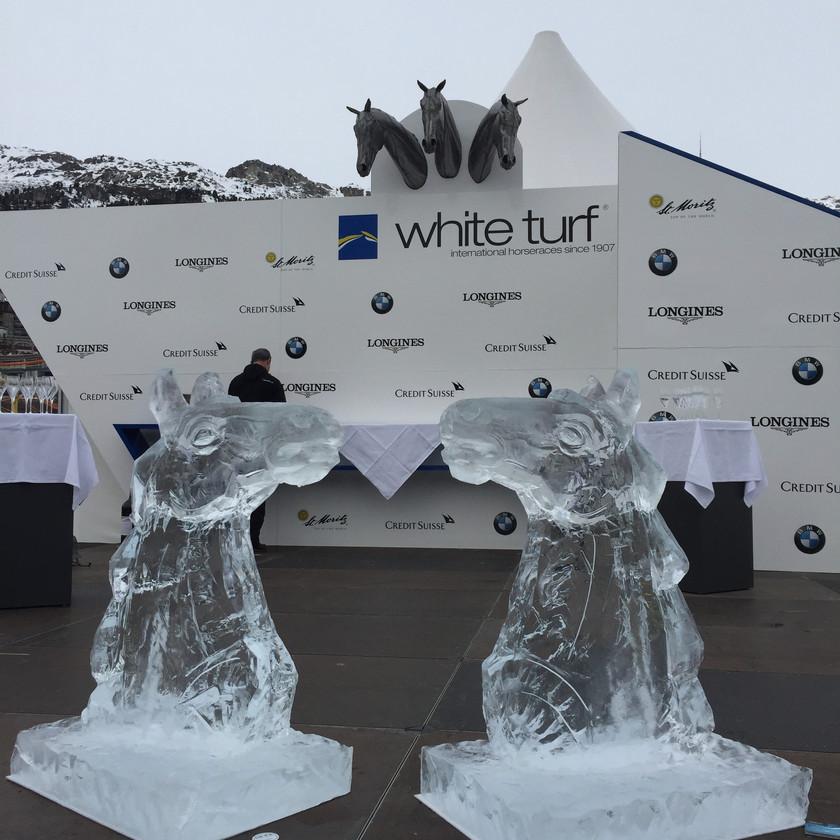 Horse Ice sculptures in St Moritz