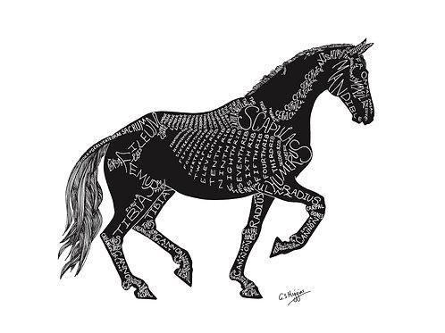 Word Art Print: Silhouette Piaffe