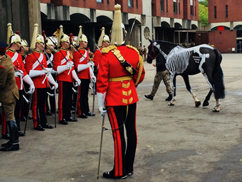 Her Majesty Queen Elizabeth II meets Gillian Higgins and Horses Inside Out at the Household Cavalry