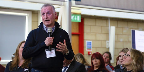 Richard Davison, Olympic dressage rider, asking a question at the Horses Inside Out annual conference