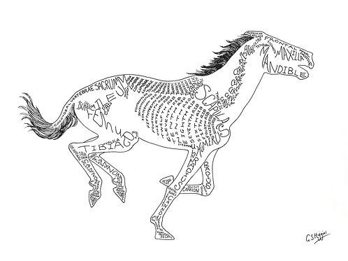 Word Art Print: White Gallop