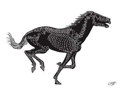Word Art Print: Silhouette Gallop