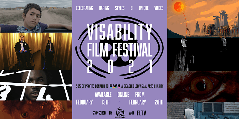 Poster for Visability Film Festival 2021 showing poster and still images from films.