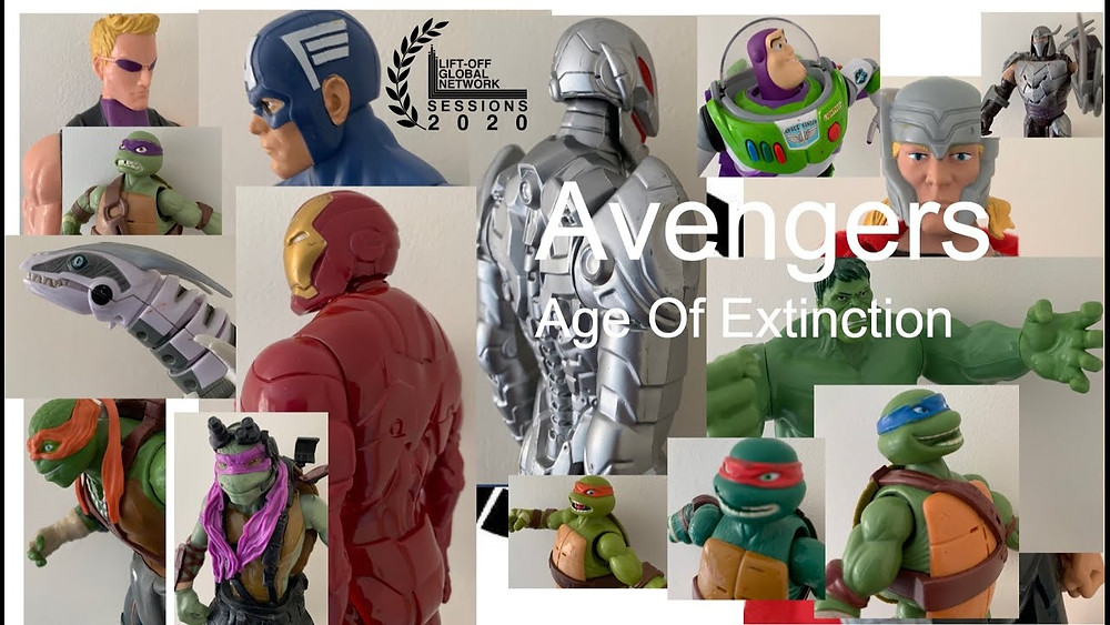 Poster for Avengers: Age of Extinction showing action figures.