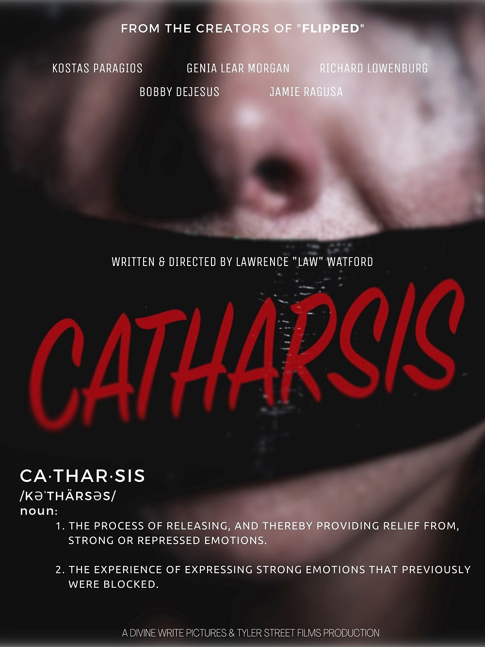 Poster for Catharsis showing close-up of face.