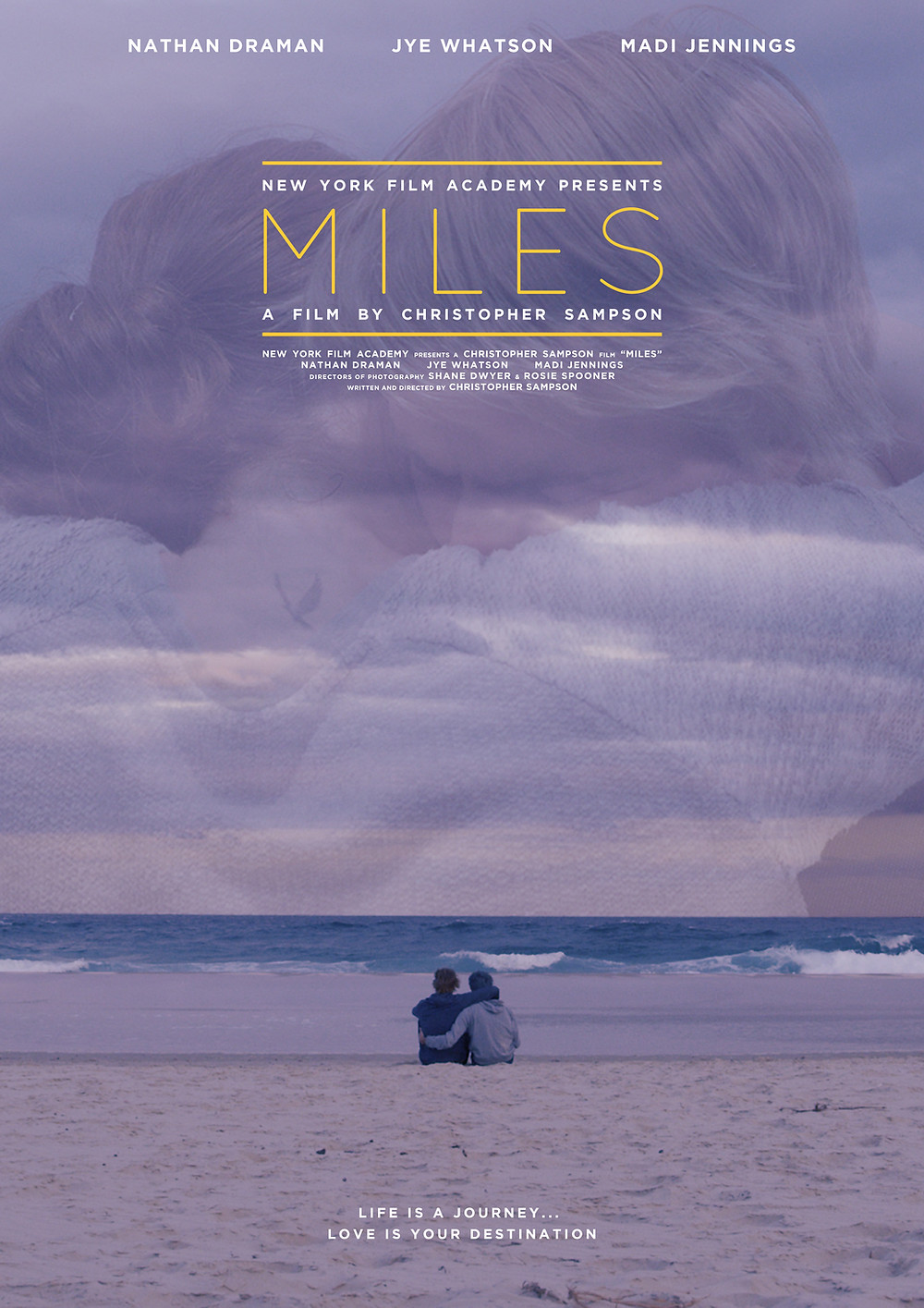 Poster for Miles showing characters, beach and sky.