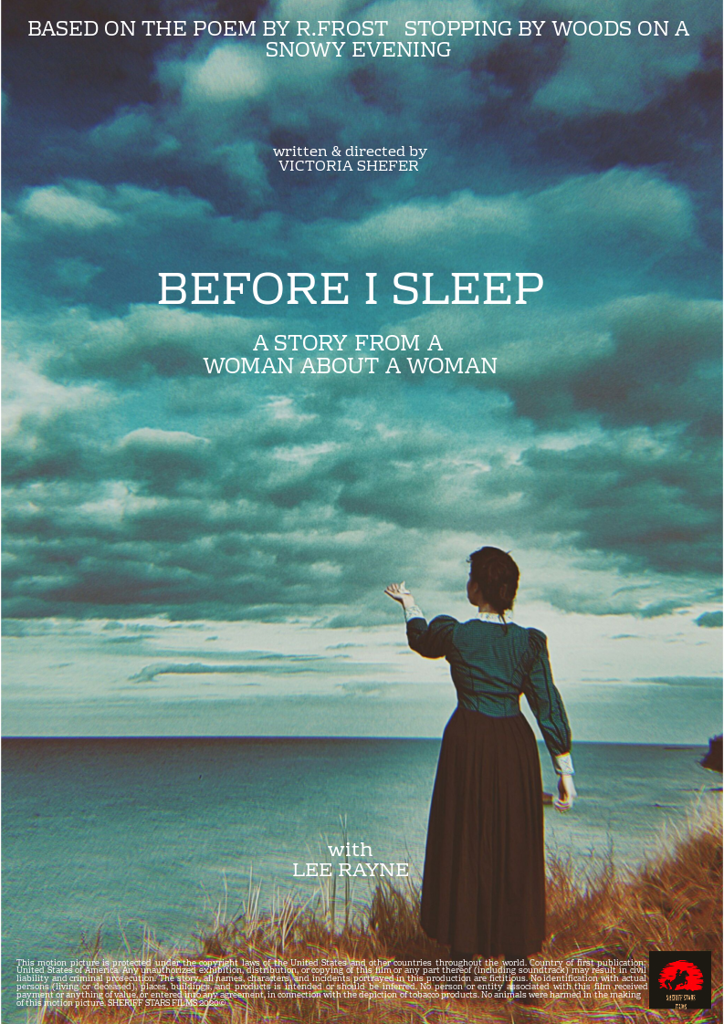 Poster for Before I Sleep showing protagonist, ocean and clouds.