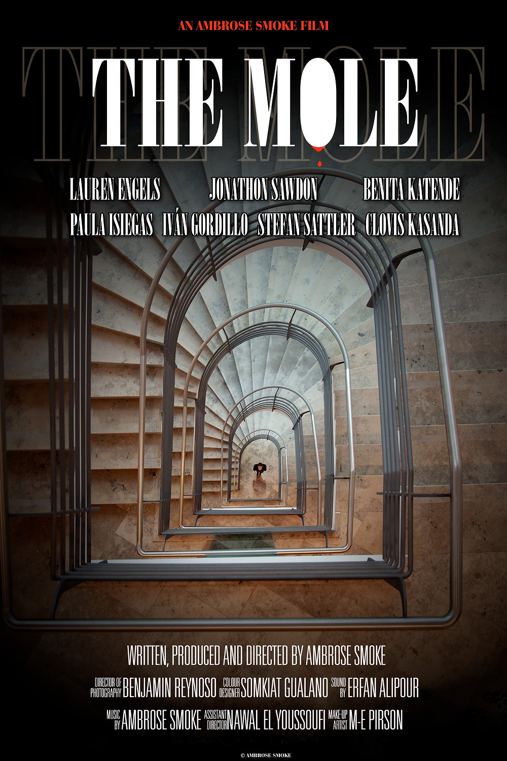 Poster for The Mole showing character and staircase.