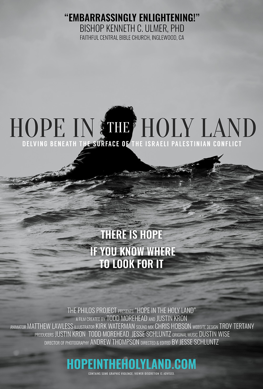 Poster for Hope in the Holy Land showing surfer.