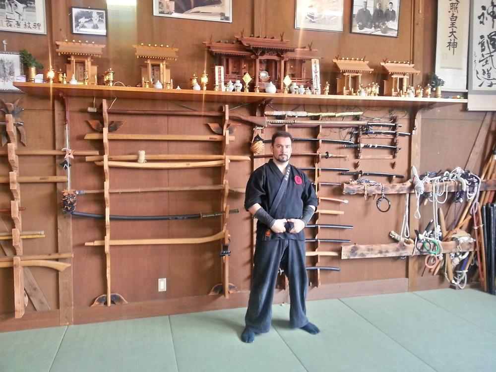 Eccomi all'interno del vecchio Hombu Dojo a Noda!