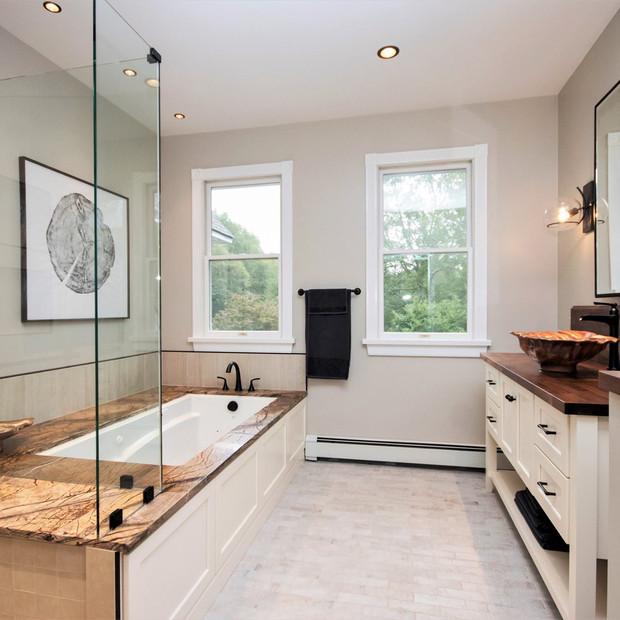 Master bath, walk in shower, full tub combination, wooden tub
