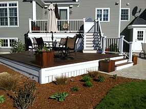 Back deck and patio addition, built in grill area, raised patio