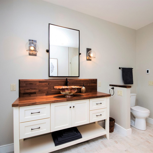Conch shell sink, custom wood vanity, master r bath