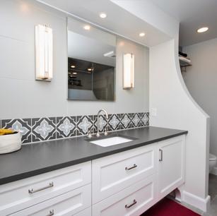 Vanity close up, white and grey vanity, custom tile backsplash