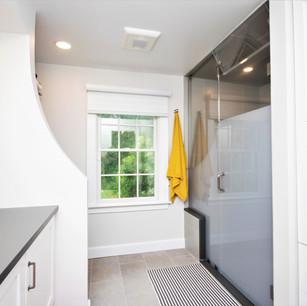Walk in master shower, built in custom linen closets