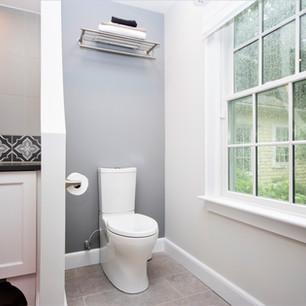 Custom plumbing, built to fit amenities, built in shelving