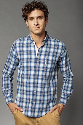 Chemise manches longues carreaux bleus